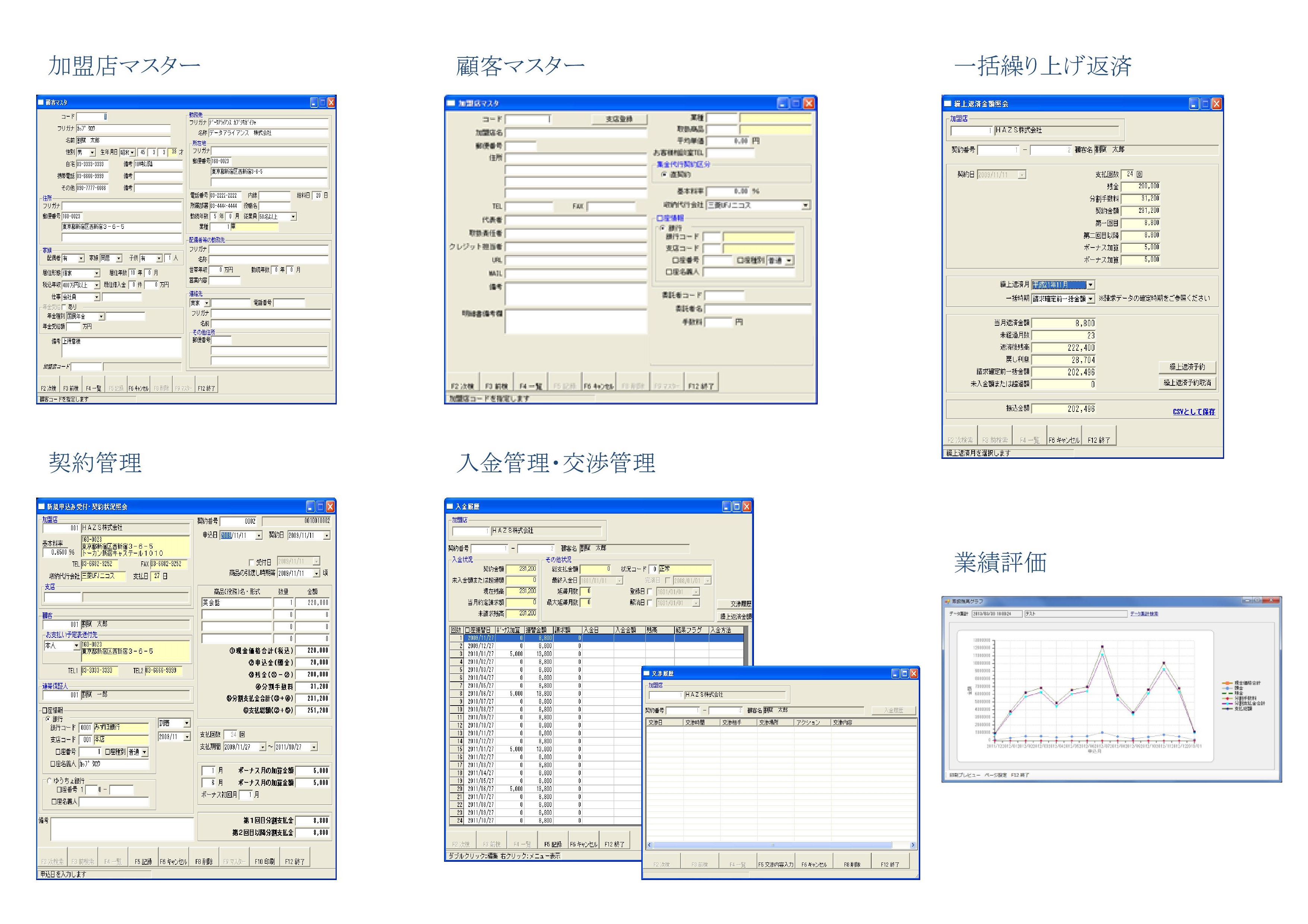 システム画面各種